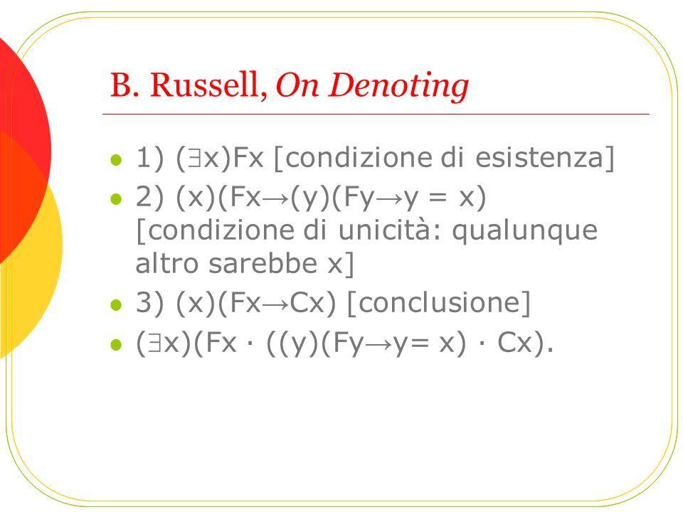 B. Russell, On Denoting 1) (x)Fx [condizione di esistenza]